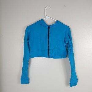 Marcia Active Wear Cropped Dance Hoodie Blue Small